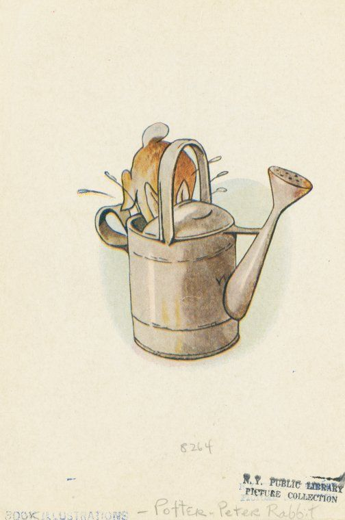 Peter rushed into the tool-shed, and jumped into a can.  From New York Public Library Digital Collections.