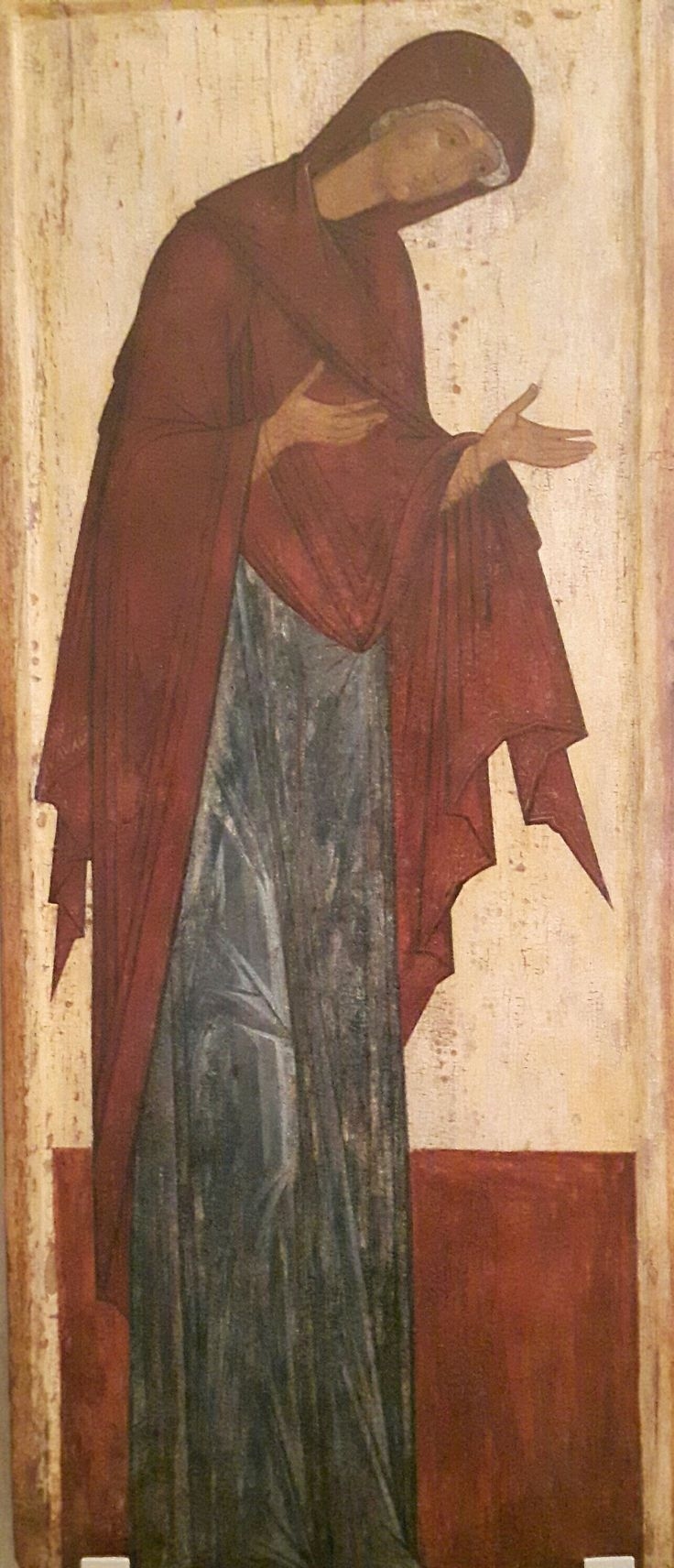 Vergine. Da un registro di Deesis. Scuola di Rostov-Suzdal. Inizi XVI secolo. Andrey Rublëv Museum of Early Russian Art. Moscow