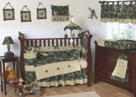 Amazon.com: Green and Brown Camo Camouflage Military Baby Boy Bedding 9pc Crib Set by Sweet Jojo Designs: Baby