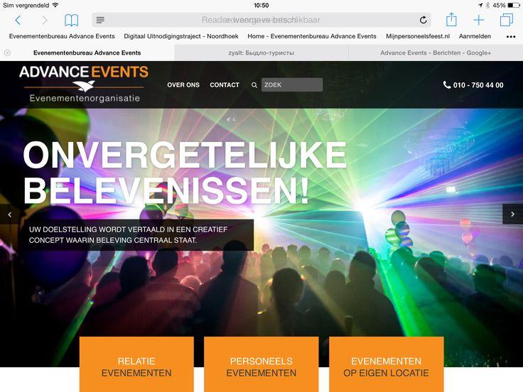 De vernieuwde website is Online! Http://www.advance-events.nl .   Er zijn nu drie secties:  1) relatie evenementen:  http://www.advance-events.nl/relatie-evenementen/  2) personeelsevenementen:  http://www.advance-events.nl/personeelsevenementen/  3) evenementen op het eigen bedrijf:  http://www.advance-events.nl/evenementen-op-eigen-locatie/  Wij nodigen u graag uit voor een bezoek aan onze website die vol staat met leuke ideeën en feestinspiratie!