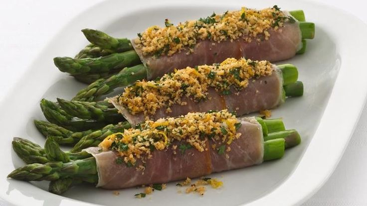 Crispy asparagus rolled in bacon and topped with Progresso® bread crumbs makes a distinctive side dish ready in 20 minutes.