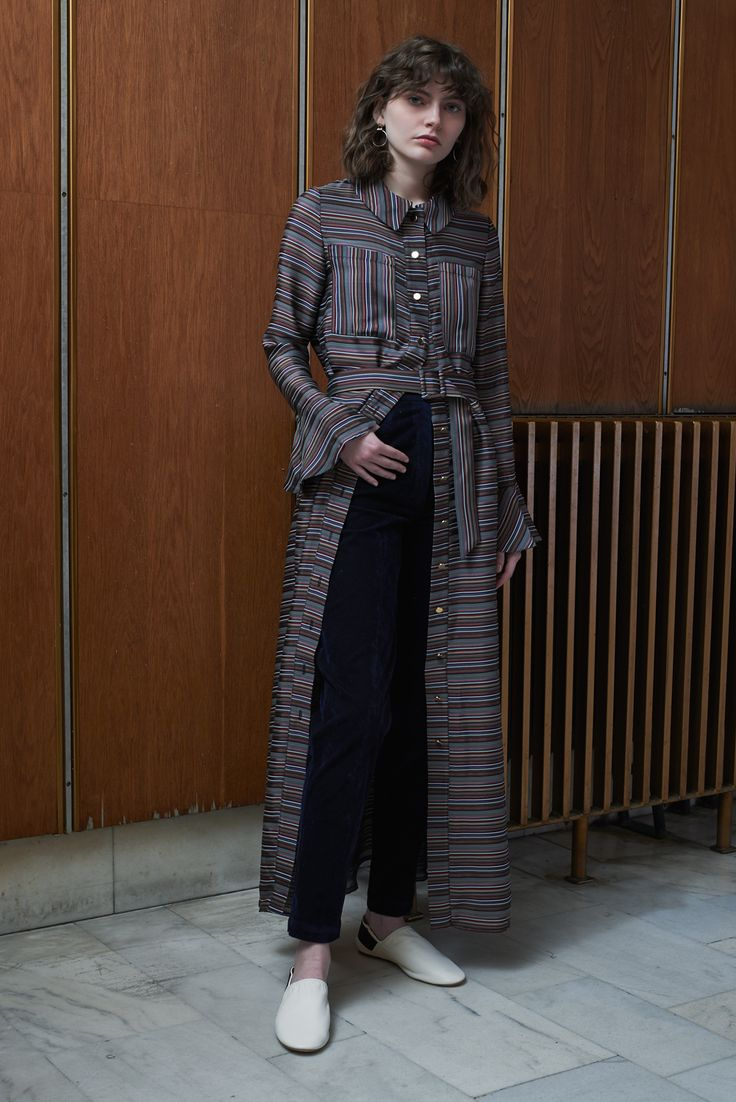 OMSK - ankle length shirt dress, multicolor striped with TBILISI - flared velvet trousers in midnight blue