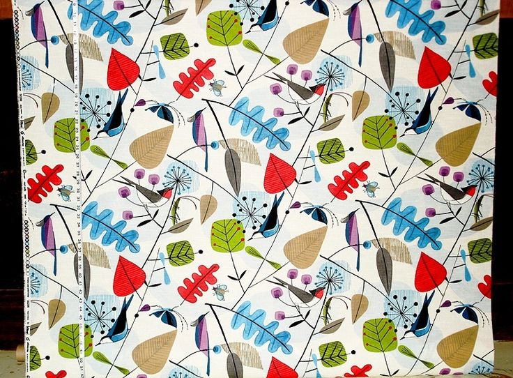 Scandinavian fabric retro modern graphic bird leaves from Brick House Fabric: Novelty Fabric