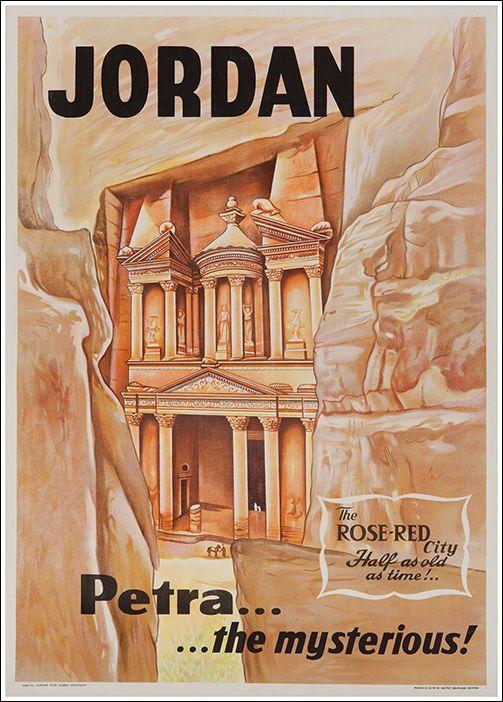 Vintage Travel Poster - Petra - Jordan.