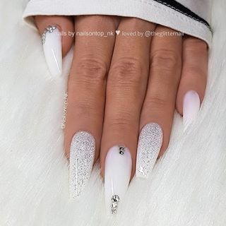 ✨ White, Glitter and Crystals on long Coffin Nails ? • ? Nail Artist