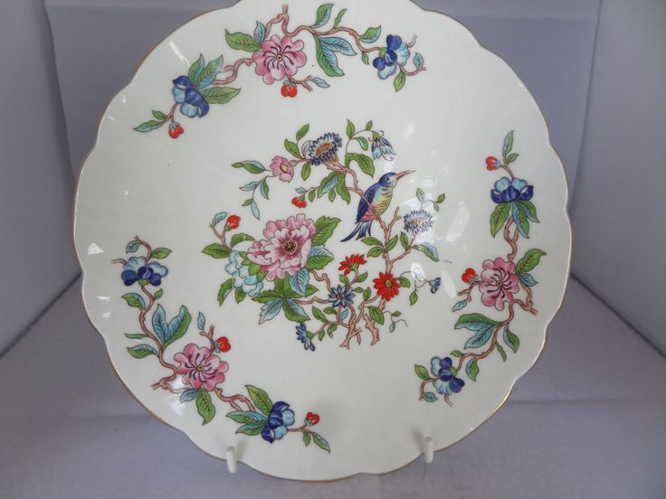 Aynsley plate, 1980 s era, Pembroke pattern, bird on branch, exotic blooms, scalloped edge, 8.25 inches across, fine bone china by MaddisonsRainbow on Etsy
