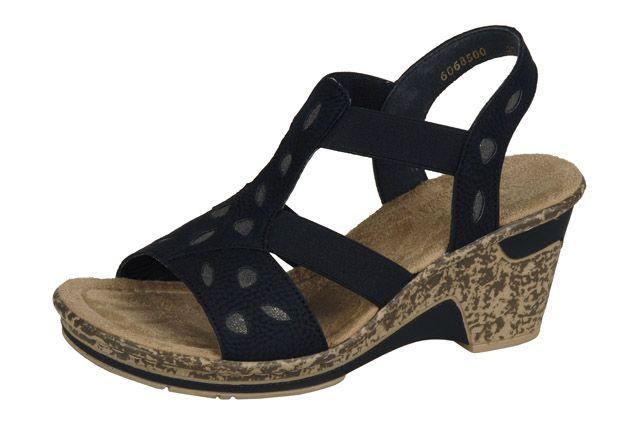 Strappy black wedge sandal from Rieker's S/S 15 range