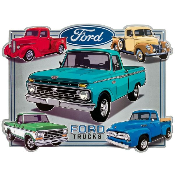 Add an authentic vintage look to your home or business decor with this classic Ford sign. It's made of embossed, die-cut tin with a cool old-time look. A great fit for any garage, game room, or bar. Measures 17.3W x 13H inches.