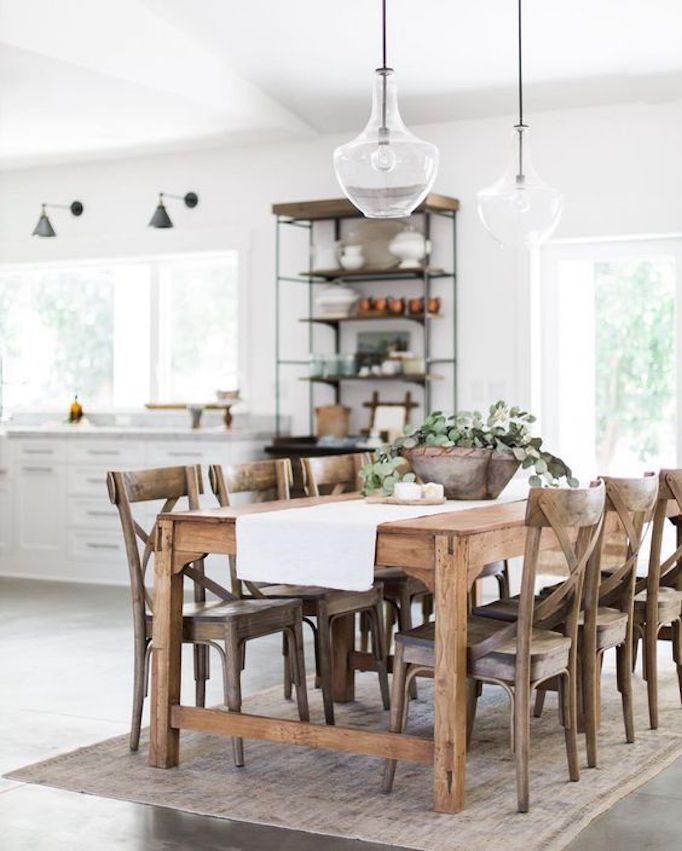 BECKI OWENS- 7 Elements of the Modern Farmhouse. White kitchen with warm rustic wood and concrete floors.
