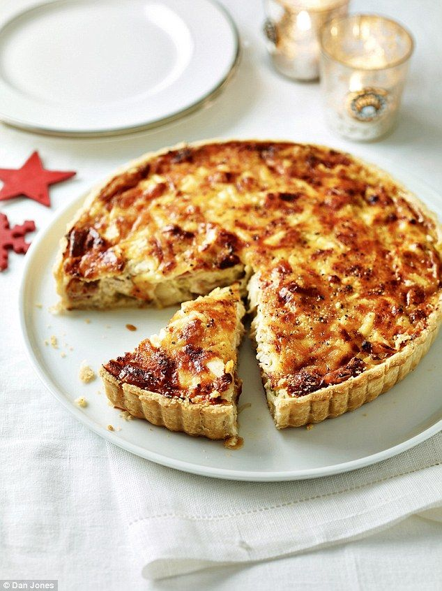 Turkey Flan with Leeks and Cheese - get recipe here: http://www.dailymail.co.uk/femail/food/article-3994000/Delia-s-Classic-Christmas-Festive-delights-Boxing-Day-buffet-Britain-s-favourite-cook.html