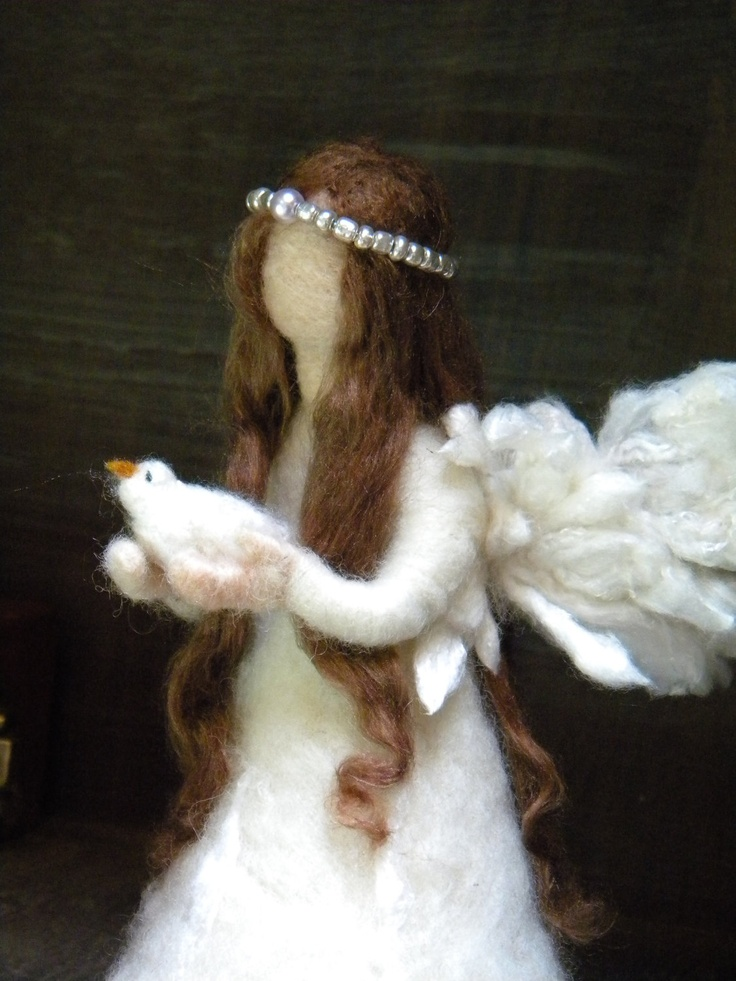 In my dreams I'll make this! Angel and bird- Needle Felted Angel Doll 14cm for your christmas nativity, for a so special gift to your loves one