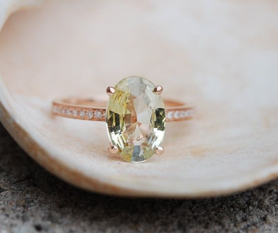 I'll pretend it's peridot   Rose gold engagement ring Jasmine sapphire oval 2.75ct jasmine champagne sapphire ring