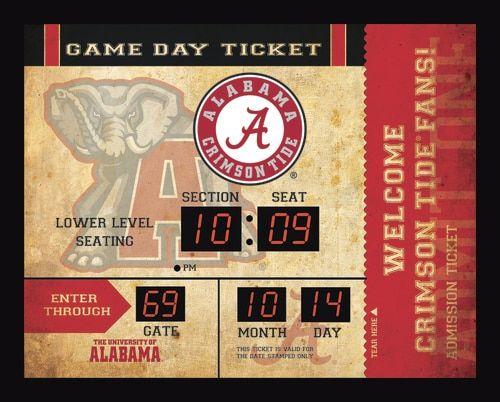 Alabama Crimson Tide Clock - 14x19 Scoreboard - Bluetooth