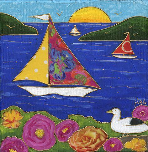 Le voilier en fleurs - Acrylique sur toile et collage • Mixed media - Art naïf - Folk art - par Isabelle Malo, Artiste peintre du Québec, Canada