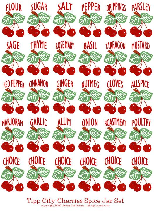 Miniature Printable Cherry Kitchen Jar Or Canister Labels