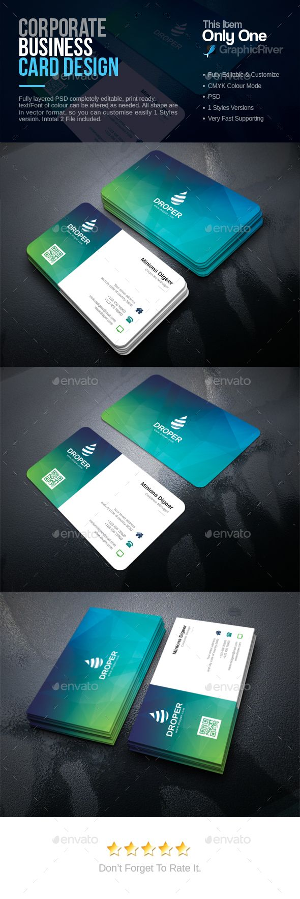 Corporate Business Card - PSD Template • Download ➝…