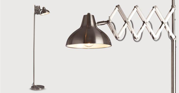 Lampada da terra Frosini, acciaio inox spazzolato | made.com