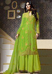 Parrot Green Embroidered Palazzo Suit