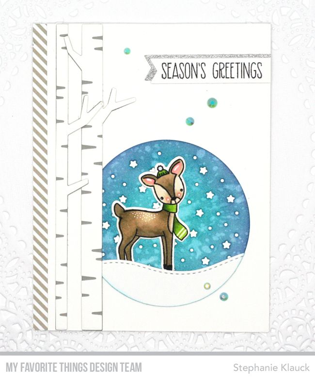 Dashing Deer stamp set and Die-namics, Birch Trees Die-namics, Stitched Snow Drifts Die-namics — Stephanie Klauck #mftstamps
