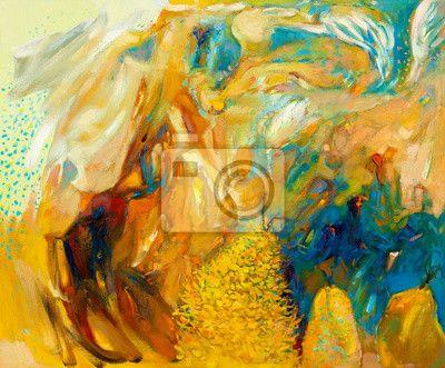Canvas of Poster Abstract Olieverfschilderij