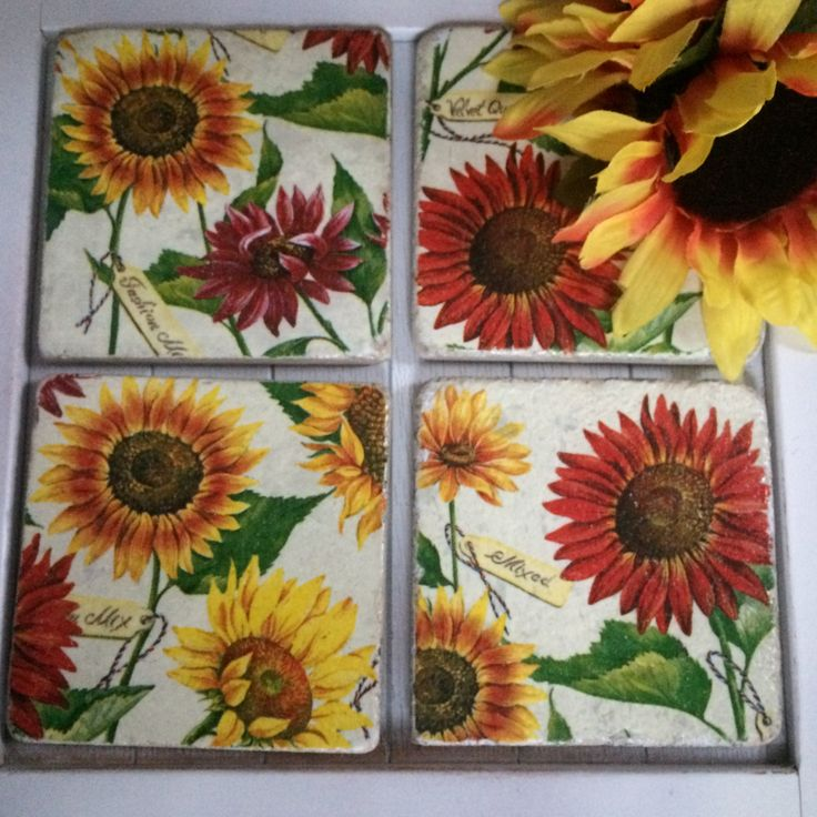Sunflower natural stone coasters, decoupaged coasters, red/yellow sunflower tile coasters, set of 4 by foreverdecoupage on Etsy