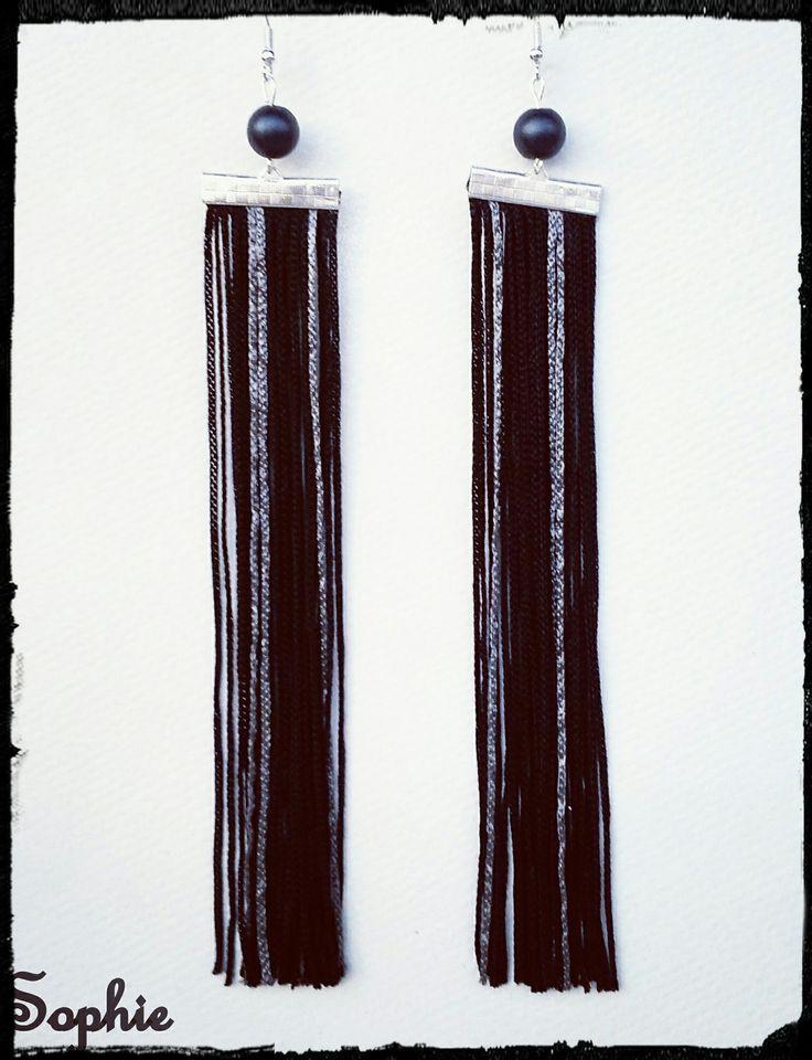 #fringe #earrings #long #handmade σκουλαρίκια μακριά με κρόσσια μαύρο κ ασημί https://www.facebook.com/SophiesworldHandmade/