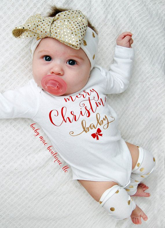 Baby Girl Christmas Outfit Merry Christmas Baby by BabyMaeBoutique