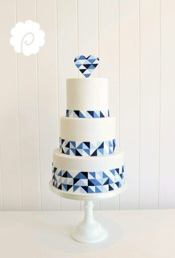 Shades of blue geometric cake