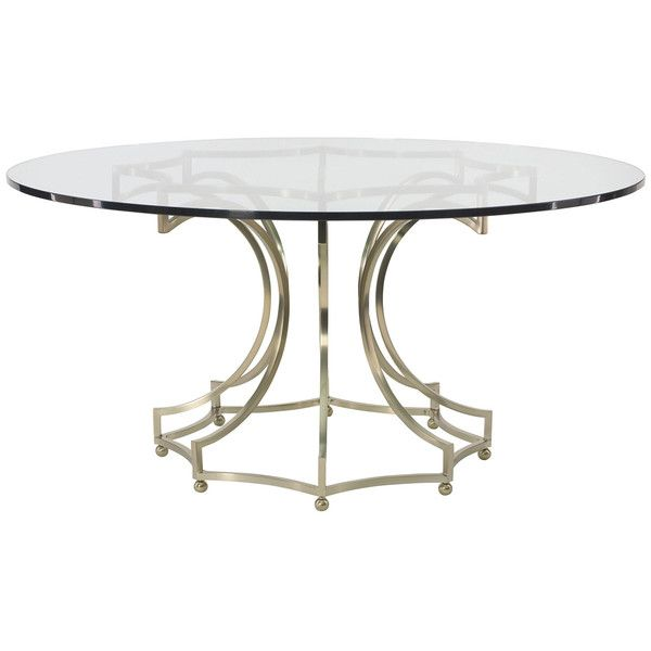 Bernhardt Interiors, Miramont Round Dining Table Glass Top, Metal Base, Dining  Tables,