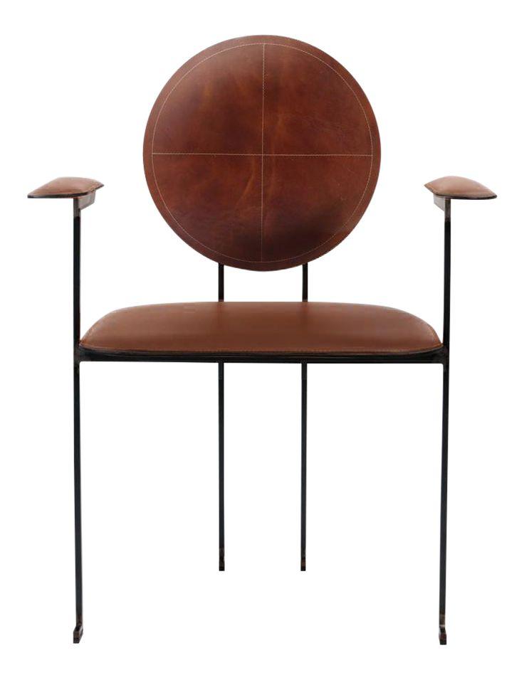 Italian Style Cognac Leather Side Chair | Chairish