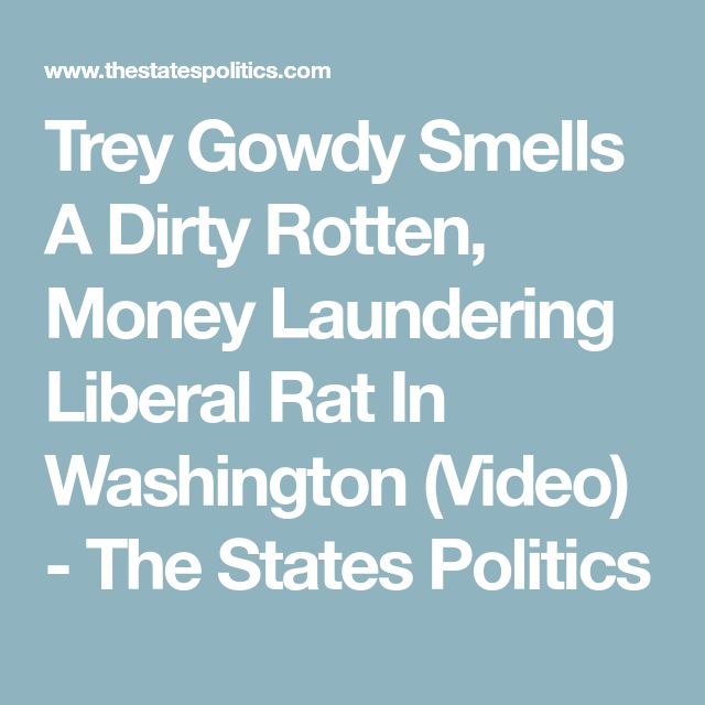 Trey Gowdy Smells A Dirty Rotten, Money Laundering Liberal Rat In Washington (Video) - The States Politics