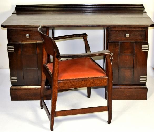 Antique Desk & Chair by Richard Riemerschmid for Deutsche Werkstätten, 1905 for sale at Pamono