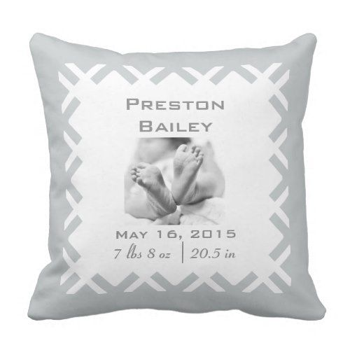 Personalize Nursery Birth Announcement, Neutral Throw Pillow
