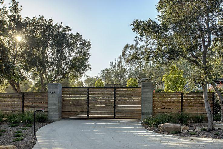Horizontal Paneled Custom Gate / Fence, Valley Club Mid-Century | Montecito, California