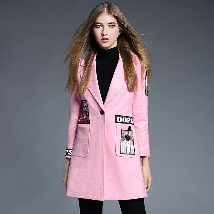 Winter Women Turn-down Collar Wool Blend Coat Medium long Elegant Wool Coat casual embroidery clothing for lady Trench Coat 1866