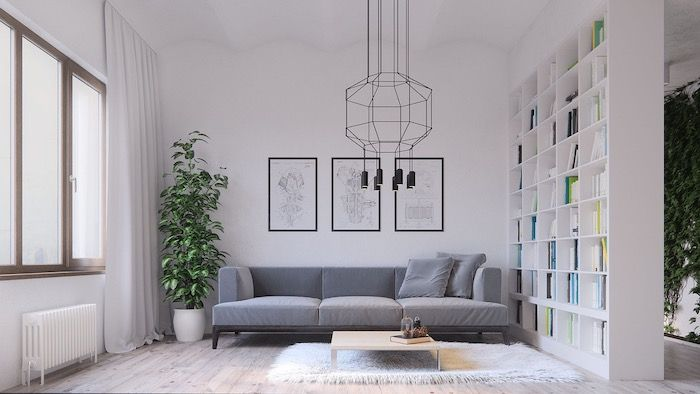 White Wall Wooden Floor Living Room Ideas Pinterest Grey Couch Wooden Bookshelf Hanging Chandeli Living Room Ideas Studio Small Living Rooms Living Room Stands