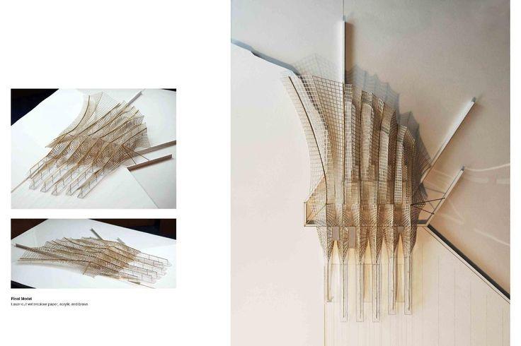 Towards a Carbon-Negative Britain - Luke Snow Final Model: Laser cut watercolour paper, acrylic base, and brass