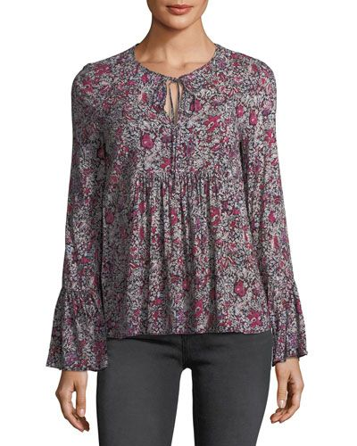 Long-Sleeve Floral Tie-Neck Top