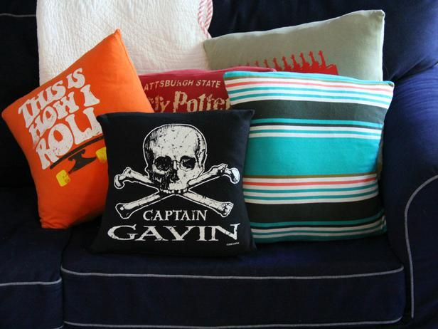 How To Make Throw Pillows Out of Old T-Shirts: Upcycling t-shirts into pillows is a fast and easy sewing project that anyone with beginner-level sewing skills can handle. This tutorial works best with knit t-shirt fabric (fabric that has a bit of stretch to it). From DIYnetwork.com