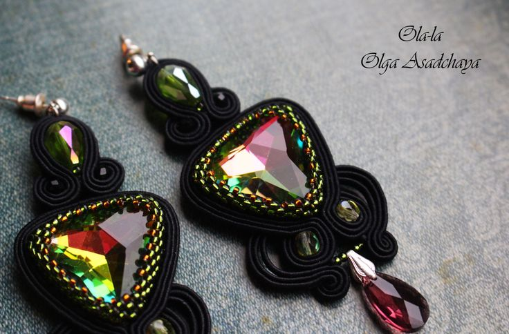 """Collection """"On the other side of the moon"""" Earrings """"Star sparks"""" soutache, rhinestone jewelry, crystal beads, beads TOXO"""