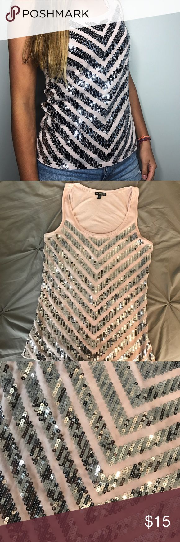 EXPRESS Blush / Punk Sequin Tank Top - NWOT This is a beautiful sequin top by Express. Color is pale pink or blush. Sequins on front only. Never worn. Smoke free home. It's an extra small, but it fits like a small! Express Tops Tank Tops