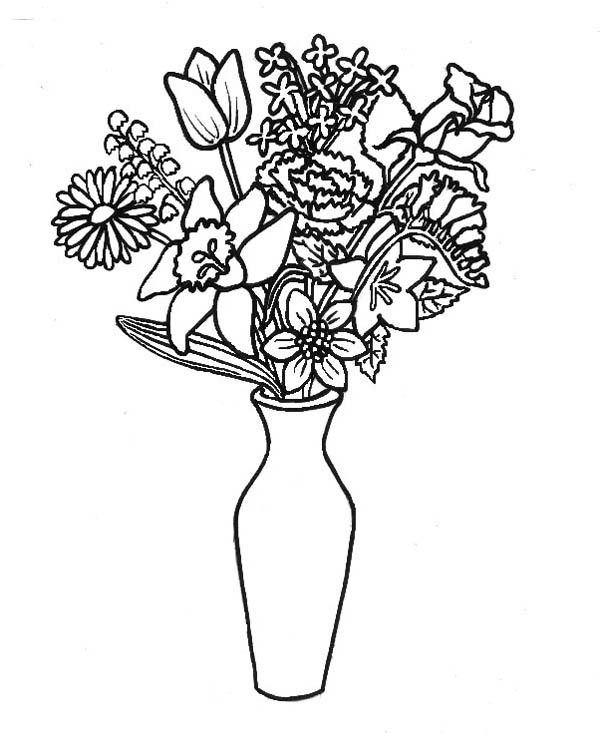 43 best sketches of flowers in a vase images on Pinterest