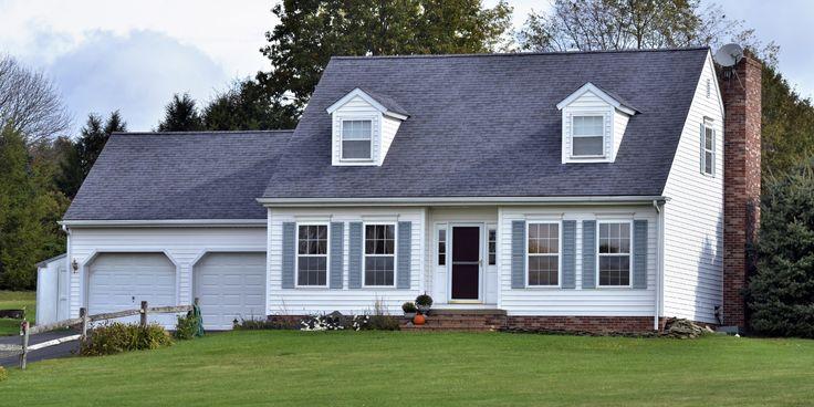 Image result for gray roof on white house White brick