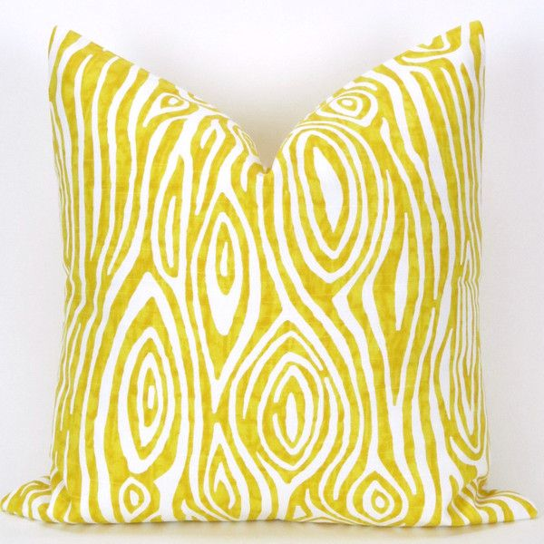Wood Grain Pillow Cover 28x28 Inch Corn Yellow & White Faux Bois... (25 CAD) liked on Polyvore ...