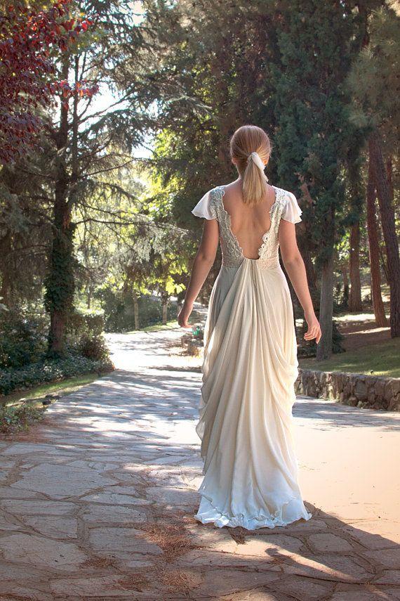 Grecian Long Wedding Gown IvoryCream Wedding by SuzannaMDesigns