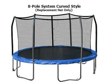 JumpKing, Bazoongi, Sams and ALL Universal Brands Net 13-ft (8-Pole) Enclosure Netting with Straps and Ropes - Cheap Trampoline Parts, Cheap Trampoline Springs, Cheap Trampoline Pads, Cheap Trampoline Mats