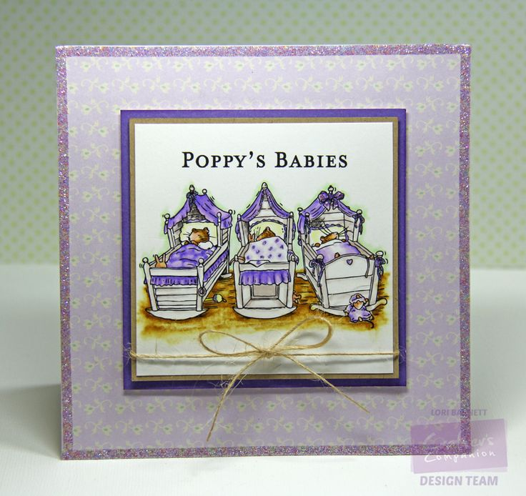 Designed by Lori Barnett. Stamps from Crafter's Companion Brambly Hedge - Poppy's Babies. Colored with Spectrum Noir Markers TN1, TN3, CR3, GB9, BG1, BG3, LG1, LY2, Blender.