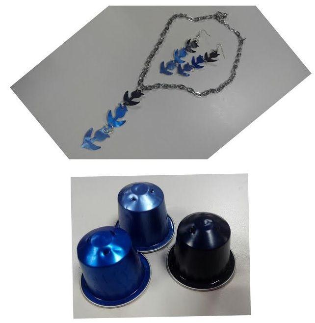 Conjunto #collar y #pendientes de #tulipanes con #cápsulas #nespresso #whatelse #DIY #HOWTO #manualidades #reciclaje