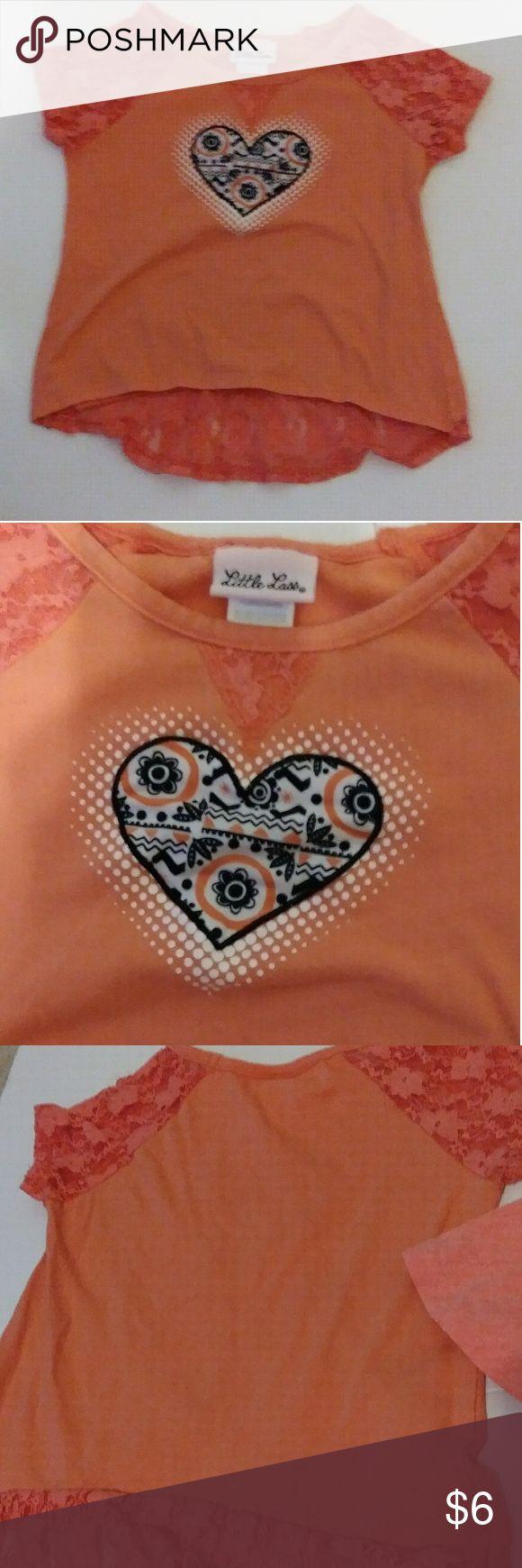 2 Girls Size 6/6x Tops Two girls tops - Little Lass heart logo shirt size 6x and 365 Kids Garanimals crab shirt. Little Lass Shirts & Tops
