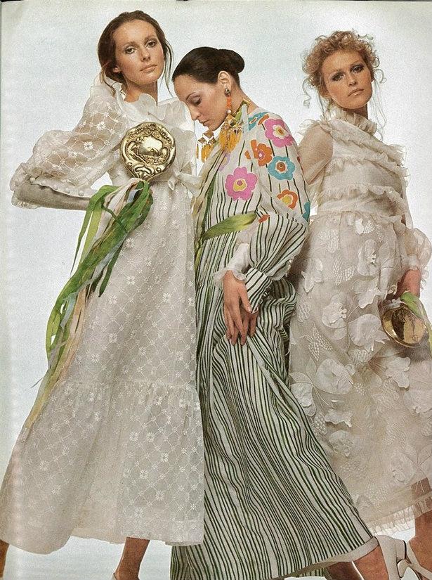 Berkley Johnson, Benedetta Barzini and Margrit Ramme by Chris von Wanghenheim, Vogue Italia March 1970